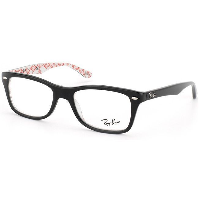 do ray ban prescription sunglasses have logo  ray ban 'rx 5228 5014' black logo print eyeglass frames by ray ban