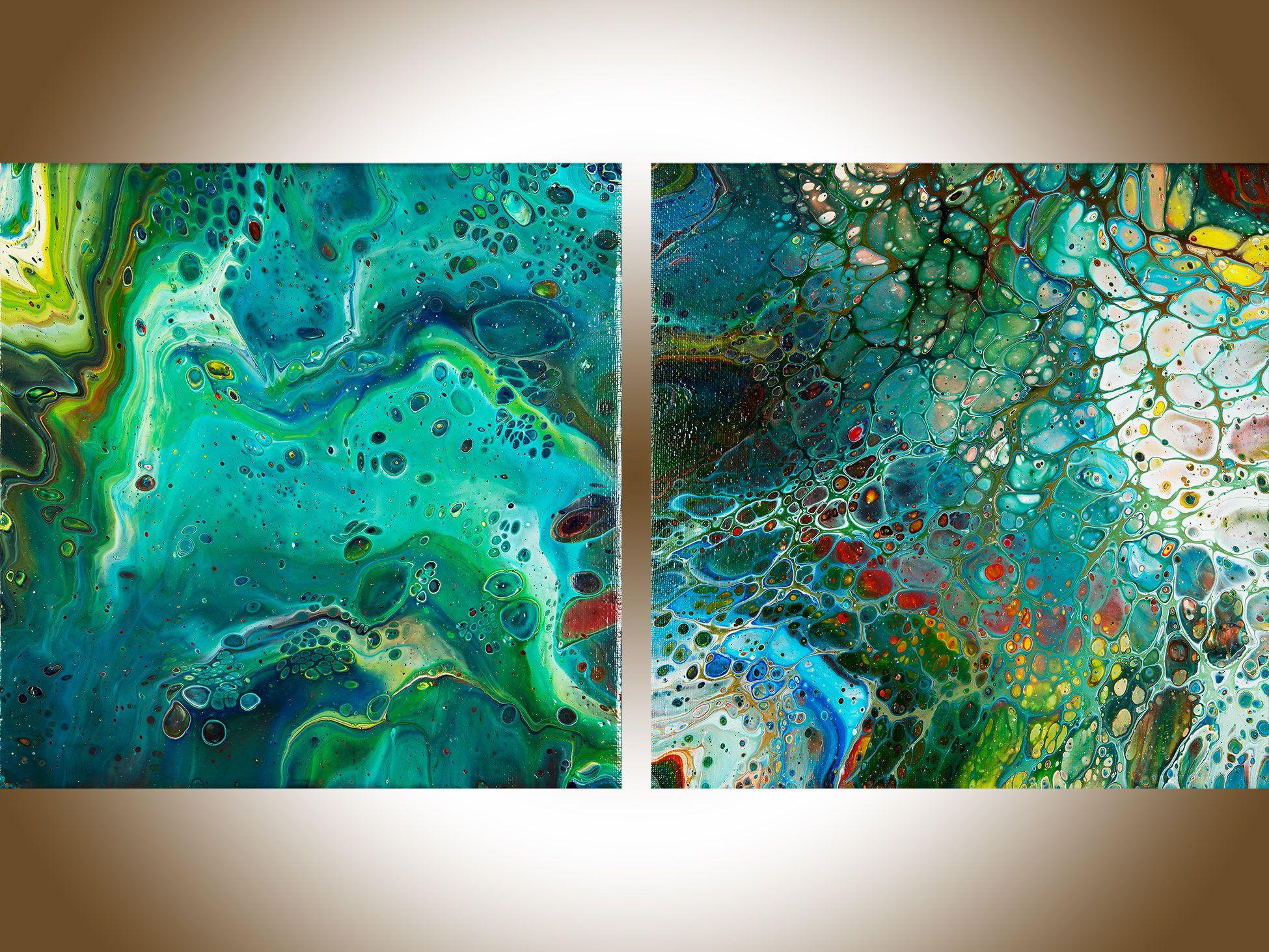 Acryl Giessen Kupfer Blau Malerei Grosse Leinwand Kunst Buro Kunst