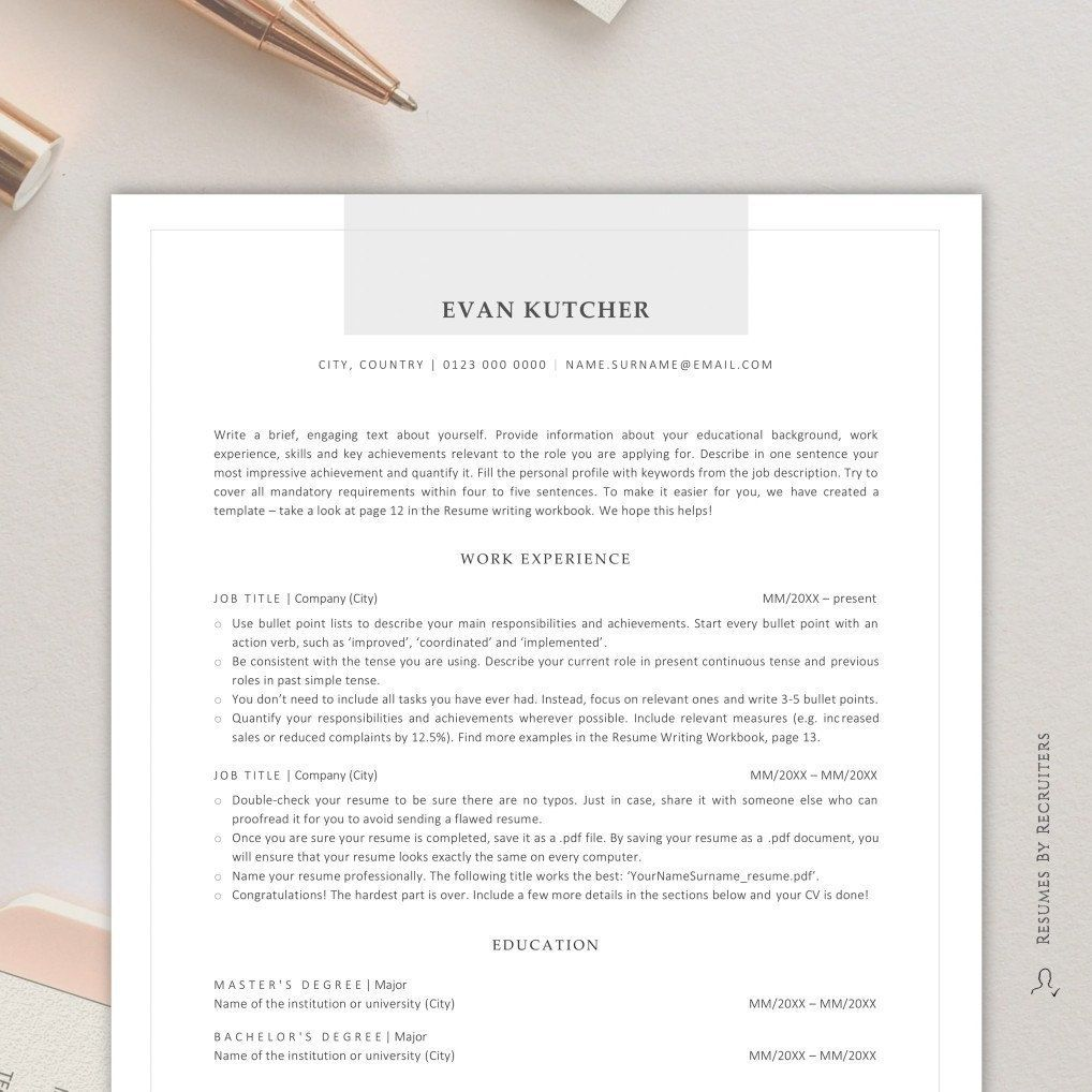 ATS friendly Resume, Instant Download CV Template for Word