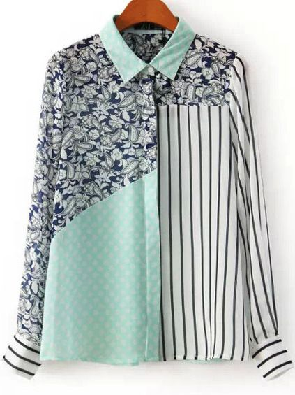 59f0e1cdc55 Green Lapel Floral Polka Dot Striped Blouse