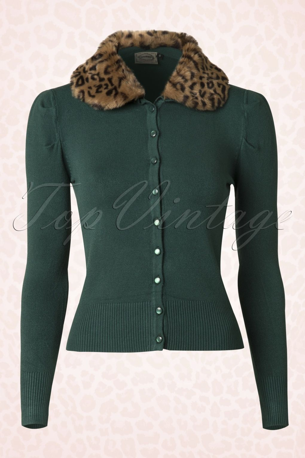 50s Vintage Leopard Cardigan in Forest Green - Banned | Born To Be ...