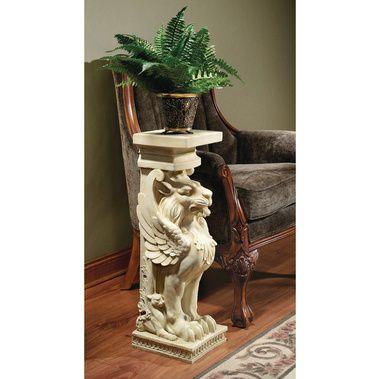 Trapezophoron Sculptural Winged Lion Pedestal Http://www.designtoscano.com /product