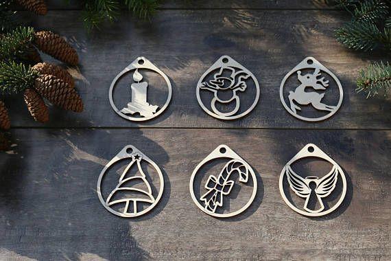 Set Of 6 Christmas Themed Symbols Ornaments Christmasdecor