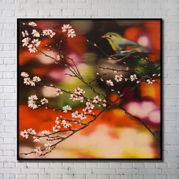 Contemporary Wall Art Flowers Abstract Wall Print with Black Frame... ($180) ❤ liked on Polyvore featuring home, home decor, wall art, prints, flower home decor, flower wall art, flower stem, blossom wall art and black wall art