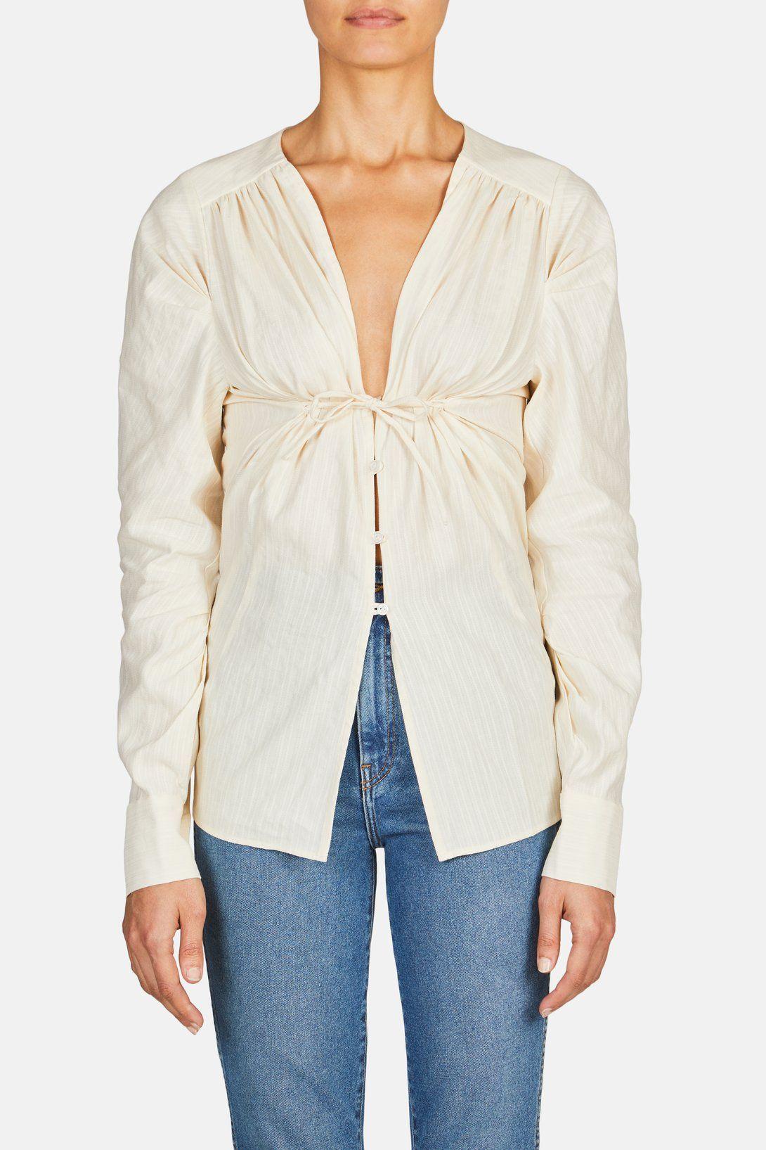 94a56959dd4 Jacquemus La Chemise Zohra Tie Front Shirt - Ecru