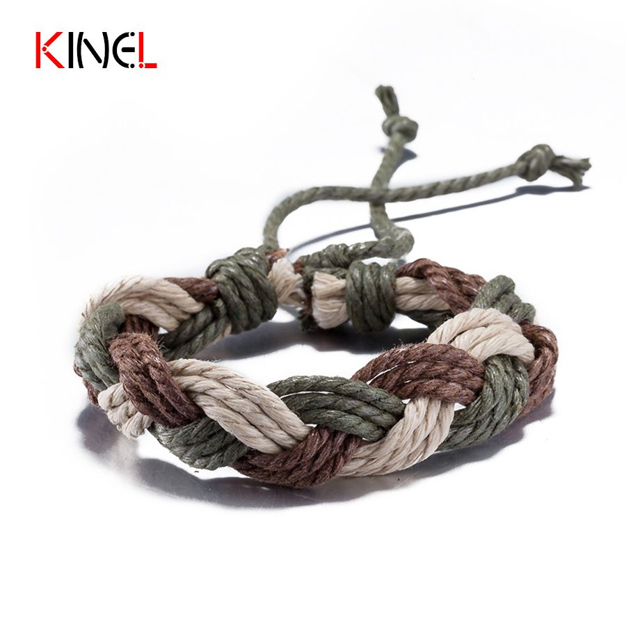 Boho fashion vintage hand woven rope bangles bracelets for women hip