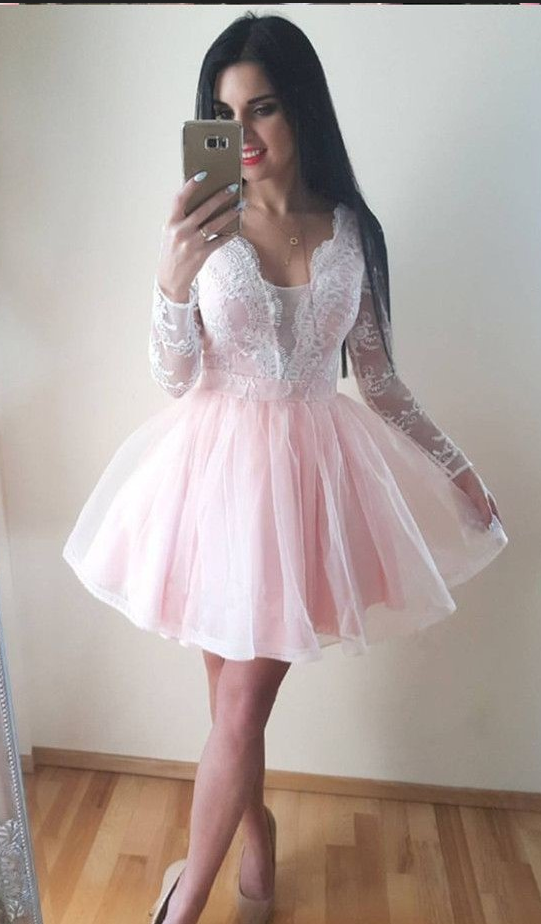 be4de6e8667bf Pale Pink Homecoming Dress,Light Pink Short Prom Dress,Long Sleeves Pink  Lace Homecoming Gown by prom dresses, $151.00 USD