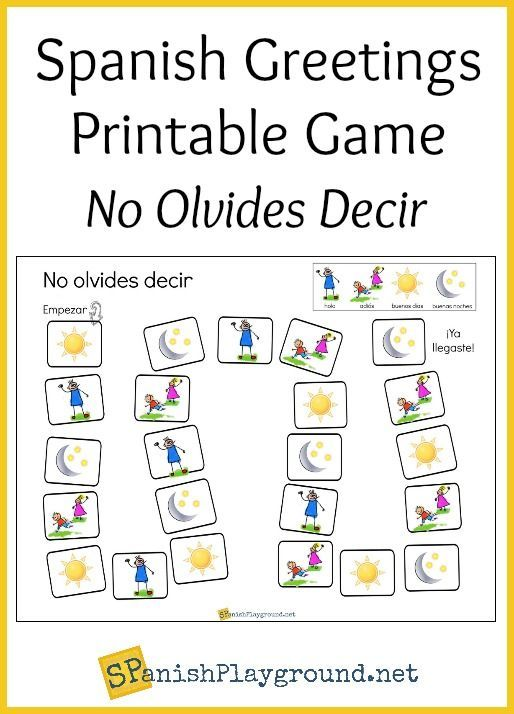 Spanish greetings game printable board pinterest spanish children practice basic phrases with these printable spanish greetings games and greetings songs m4hsunfo