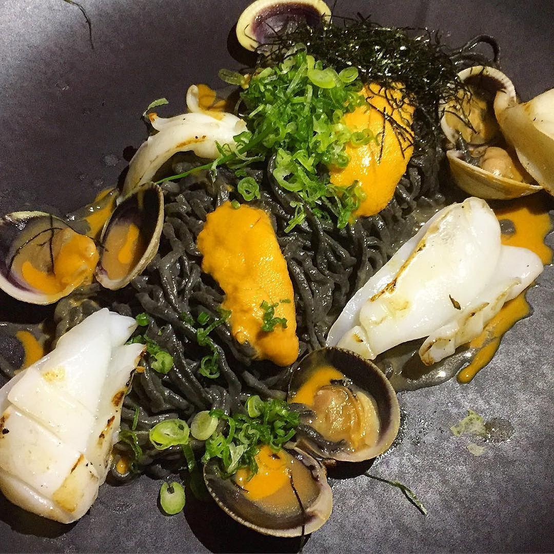 Uni and seafood squid ink pasta at @bondstnyc ! Yumm I love Uni! #seafood #Uni #seaurchin #bondstnyc #foodporn #foods #foodbaby #nyceats #nyceeeeeats #eeeeeats #nom #nycmoments #tastyfood #nycrestaurant #sushi #asianfusion #foodlove #foodpics #letseat #starvingfoodseeker #bestfoodintheworld #bestfoodpics #squidink by dianaeatsnyc