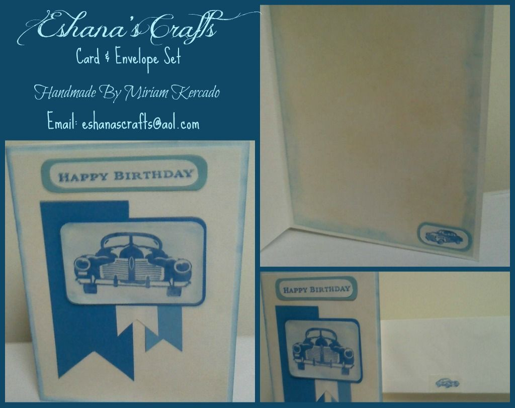 "This 5″ x 7″ card was handcrafted using Ivory and 2 shades of blue card stock, and adorned with a hand stamped ""Happy Birthday and blue classic car inside and out, even on the back flap of envelope. This card is such a wonderful way to show your appreciation towards someone who collections classic cars or for that man in your life. Left blank for your personal message."