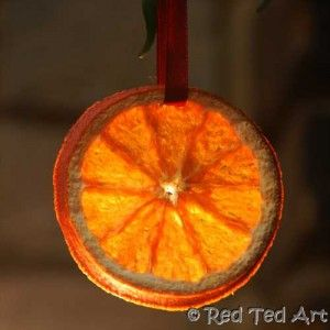 Simple Winter craft with kids - how to dry orange slices + some craft ideas of what to do with them! via www.redtedart.com