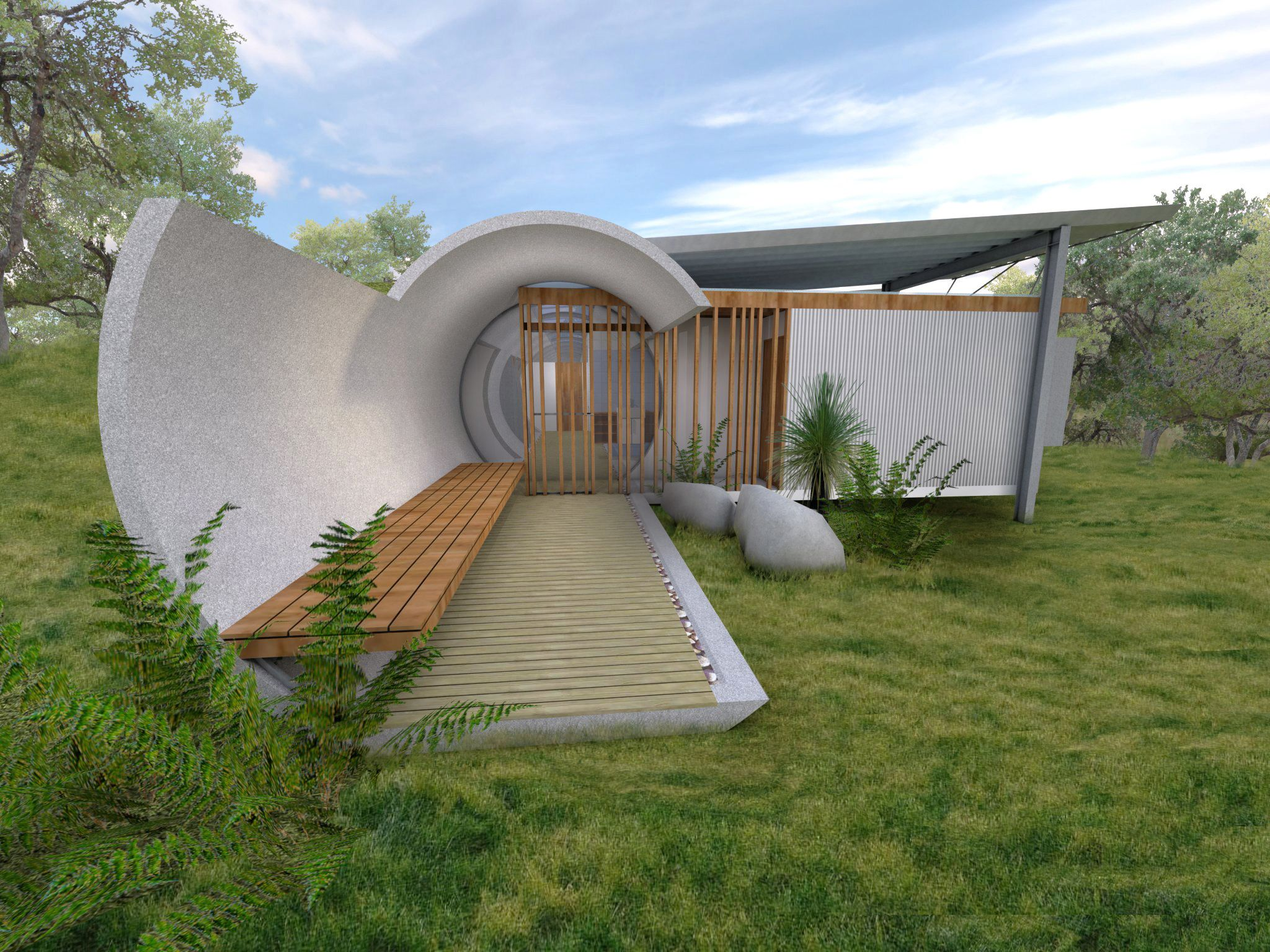 "Another type of Earth-Sheltered home is the ""bermed"" design, which ..."