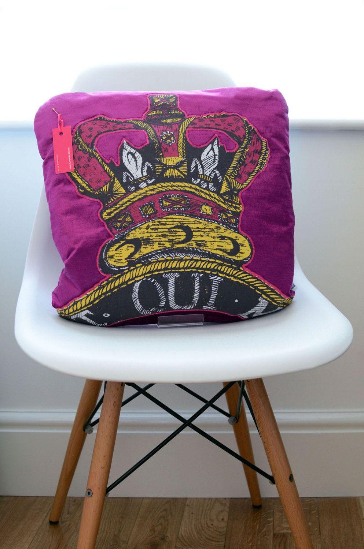 Handmade royal diamond jubilee appliqued cushion hot pink