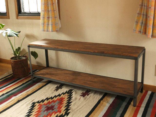 簡単オーダーメイド アイアンの2段シェルフ テレビボード 棚