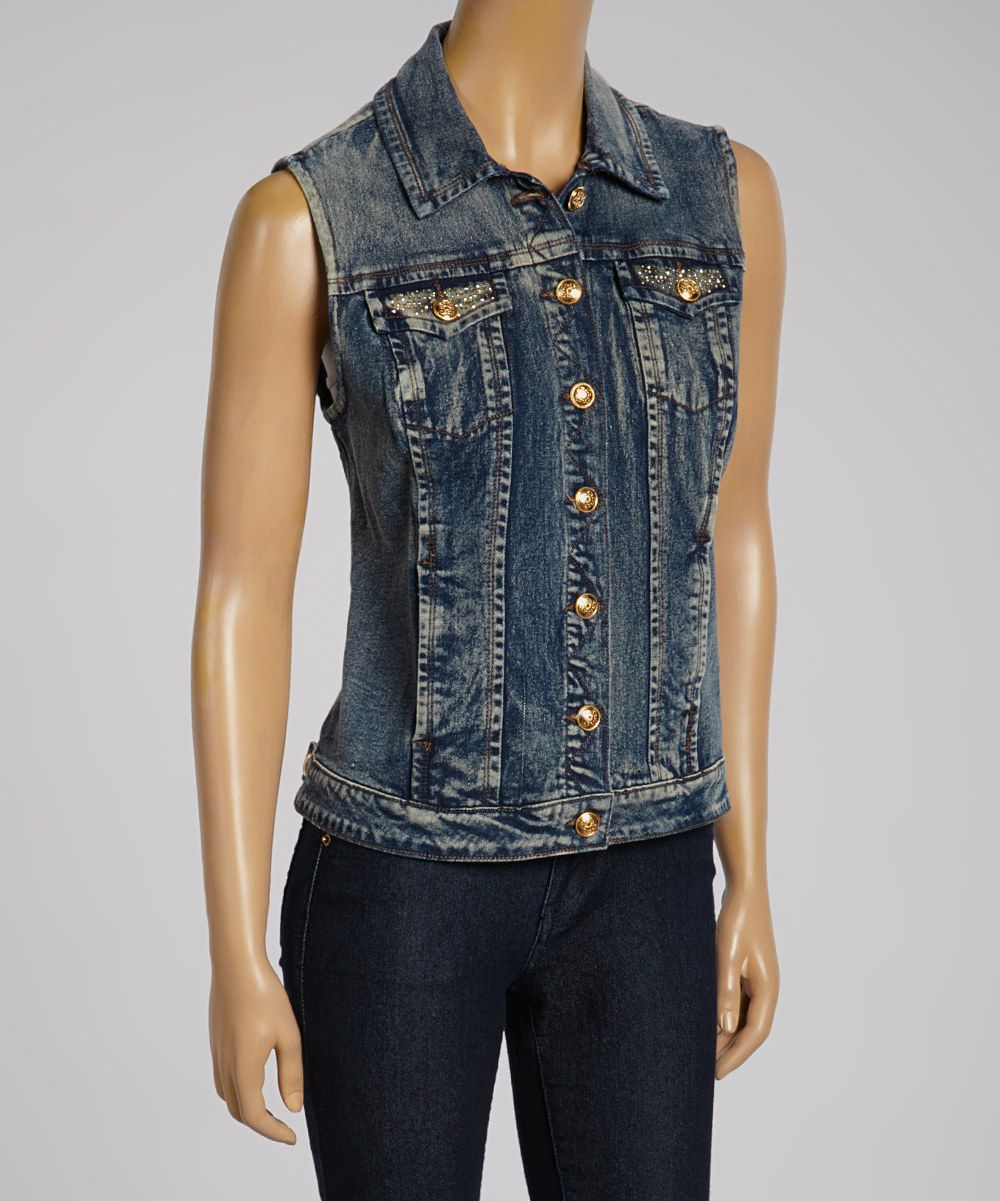 Look what I found on #zulily! Live A Little Blue & Gold Denim Button-Up Vest by Live A Little #zulilyfinds