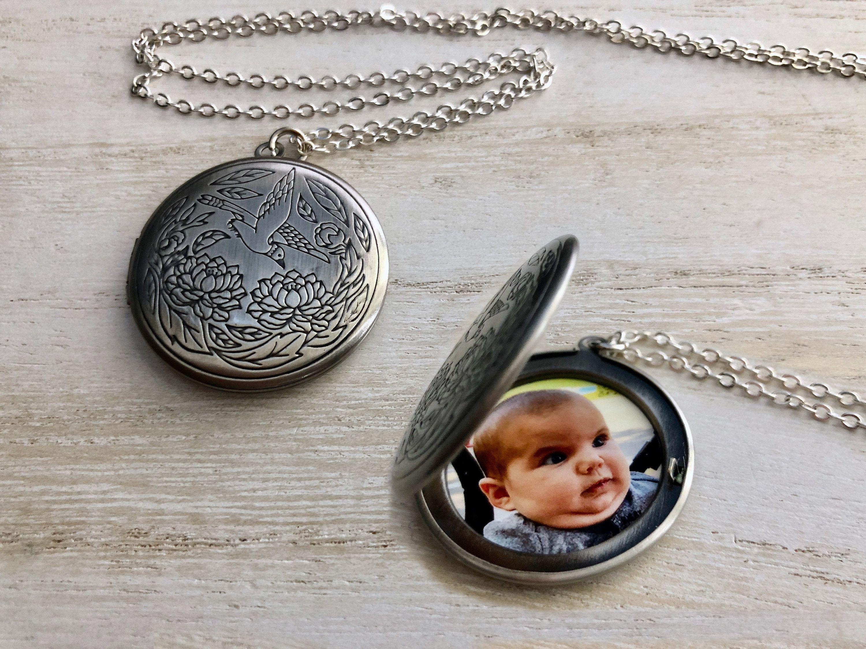 Antique silver bird locket personalized photo locket