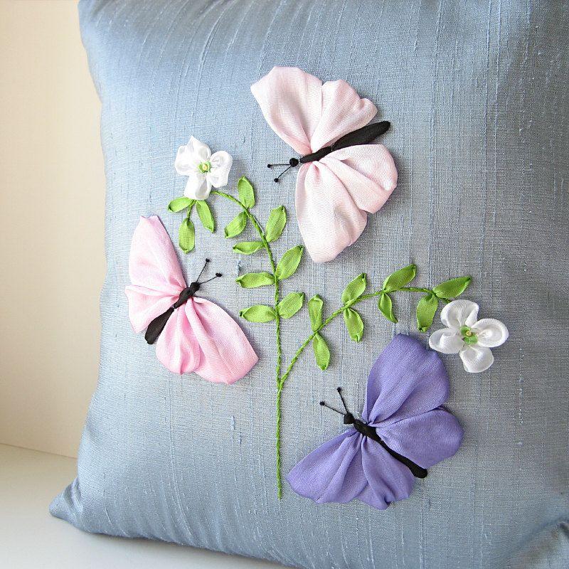 Butterflies silk pillow pastel silk ribbon embroidery by bstudio butterflies silk pillow pastel silk ribbon embroidery by bstudio 6500 ccuart Gallery