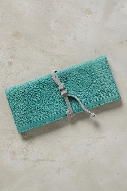 Embossed Suede Pencil Pouch #anthropologie