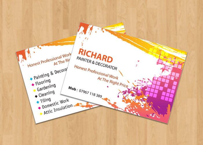 Business Card Design And Print Business Card Design Painter And Decorator Card Design