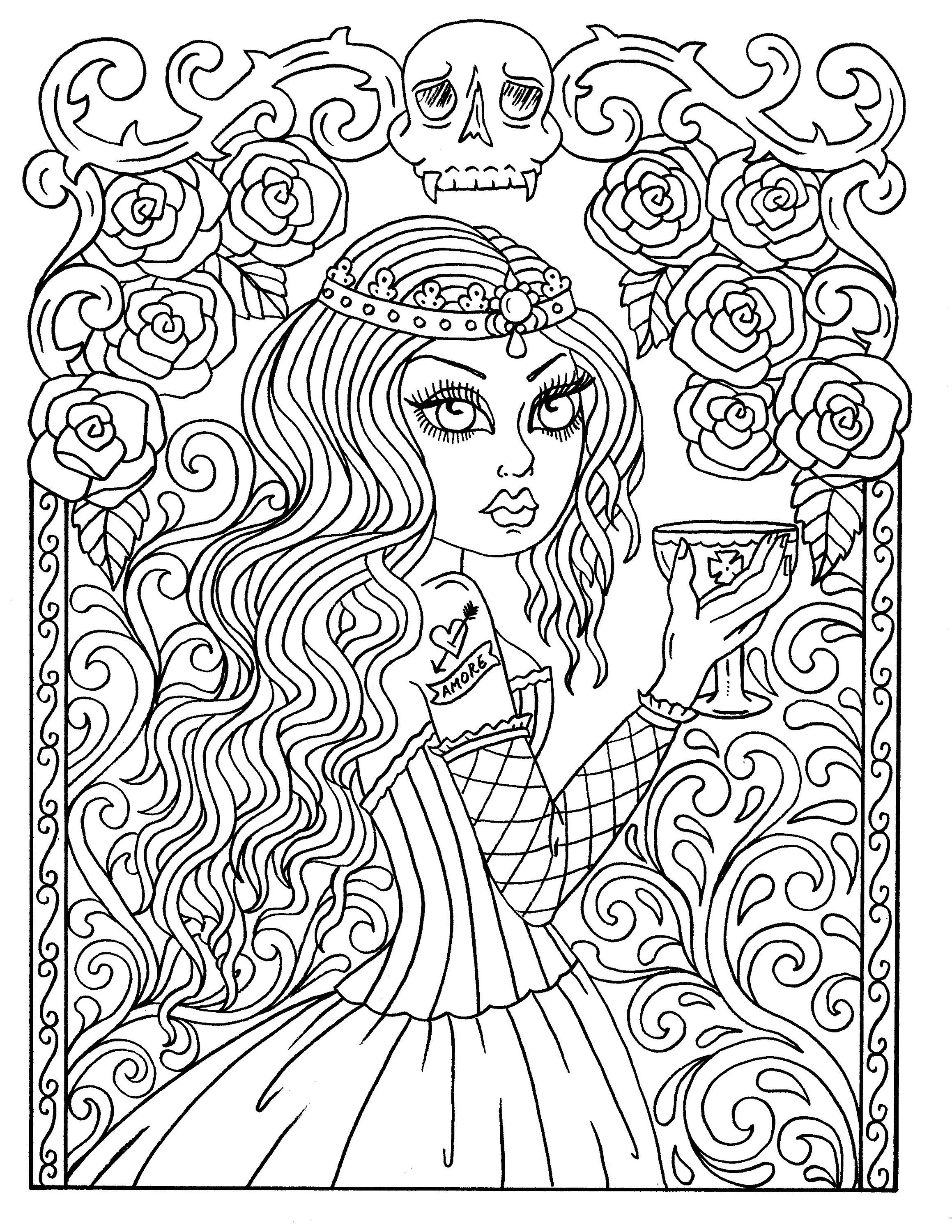 - Instant Download GOTHIC Beauty Coloring Book, Adult Coloring