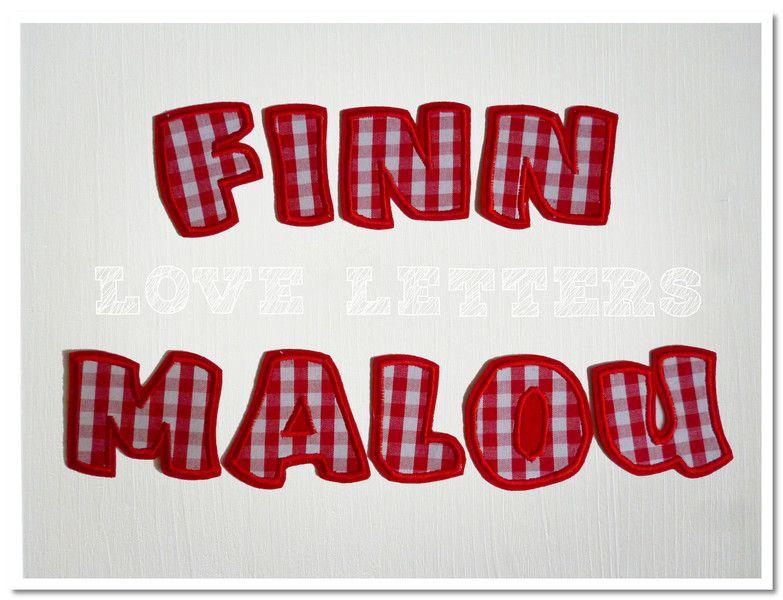 Aufnäher - Bügelbuchstaben Vichy Karo rot - Stoff Buchstaben - ein ...