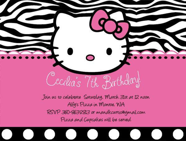Hello Kitty Birthday Invitations by DesignsbySuzan on Etsy