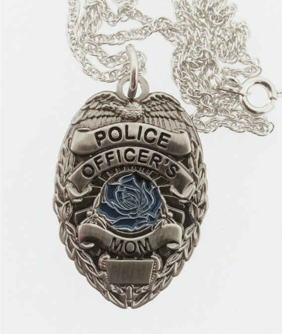 Police Officer's Mom Blue Rose Pendant with 20 Inch by RescueTees