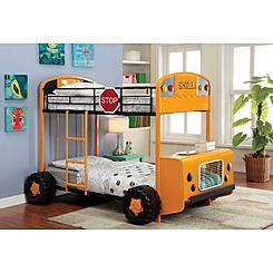 Furniture Of America Skoolie Bus Twin Over Twin Bunk Bed