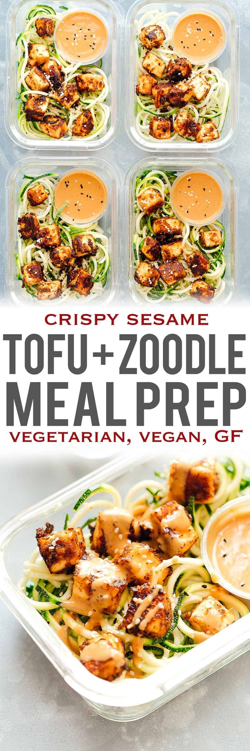 Crispy sesame tofu with zucchini noodles is the perfect healthy, vegetarian meal prep lunch recipe that is low carb, vegan and gluten free too. These easy meal prep lunches are served with crispy sesame tofu on a bed of zucchini noodles and a delicious peanut sauce to go with! Healthy lunch recipe on the go! You can either eat it warm or cold like a salad. Store the sauce separately! #myfoodstory #recipe #crispy #vegan #sauce #noodles #healthy #honey