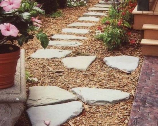 gartenwege gestalten-ideen bodenbelag-naturstein Garten - gartenwege aus holz anlegen