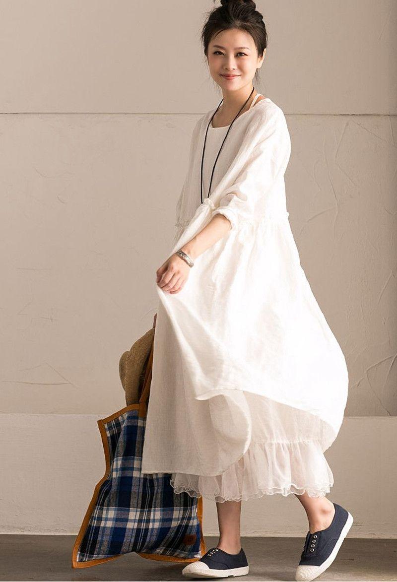 White linen summer casual plus size dresses for women flower