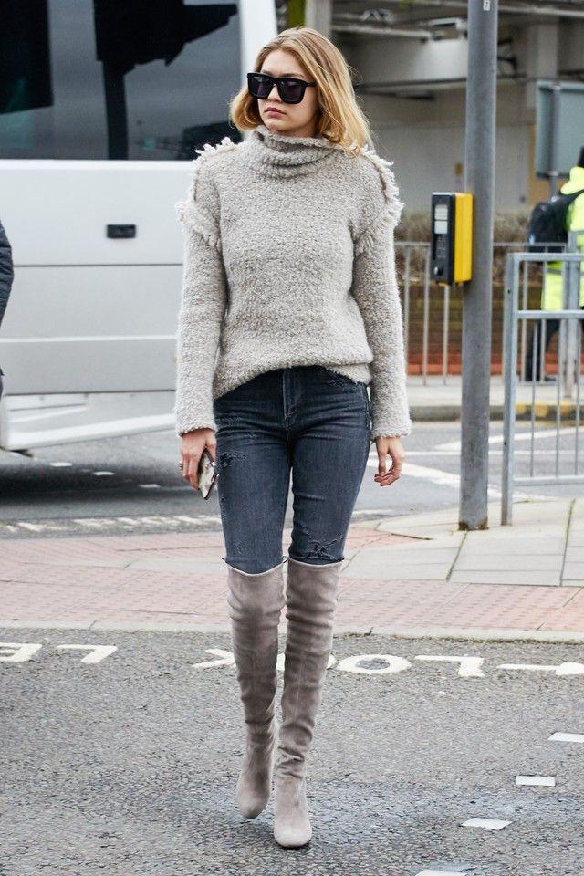78cad635915 Gigi Hadid wearing Stuart Weitzman Highland Suede Over-the-Knee Boot Topo