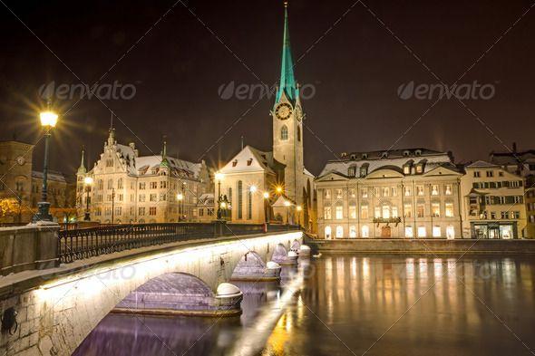 Nightscene in Zurich by elxeneize. Nightscene at the banks of river Limmat in Zurich #AD #elxeneize, #Zurich, #Nightscene, #Limmat