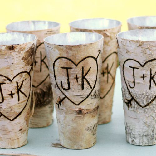 Monogrammed Engraved Birch Wood Vase Rustic Wedding