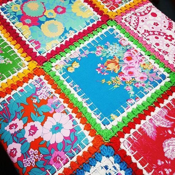Patchwork and crochet fabric fusion quilt, fusion blanket, crochet ...