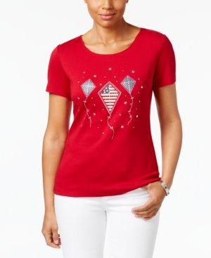 Karen Scott Glitter Kite Graphic Cotton Top, Only at Macy's - Red XXL