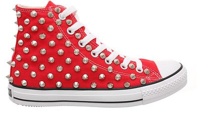 Studded Converse, Converse Red High Top with Silver Cone Studs by CUSTOMDUO on ETSY