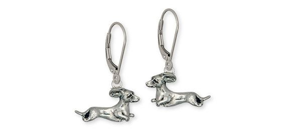 Sterling Silver Dachshund Earrings Jewelry DA13-E by Efsterling