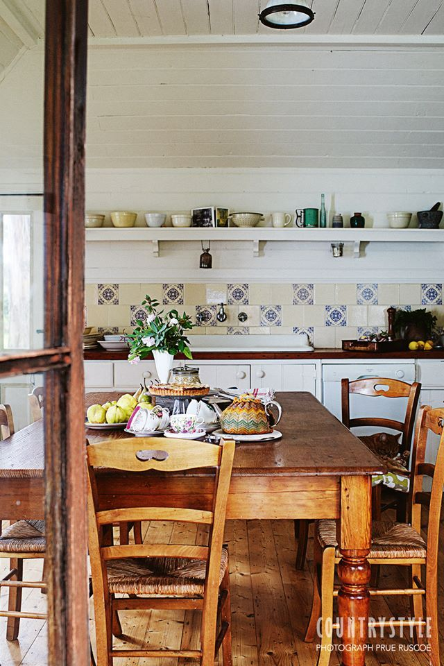 Cute country kitchen with pretty tile new look for my for Cute country kitchen ideas