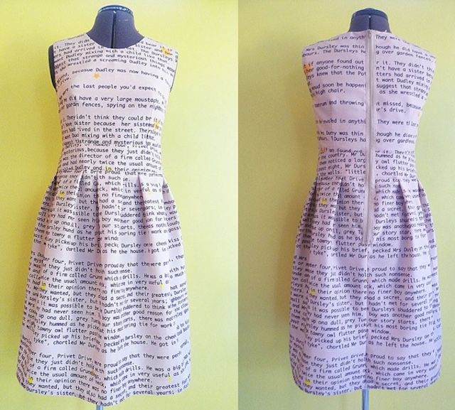 LOVE THIS DRESS!! WANT WANT WANT! Harry Potter first chapter print. We've seen all kinds of fandom clothing over the years, but they tend to focus very heavily on art and photos. This dress is all about the words. The very first words, in fact, that started the whole Harry Potter series.