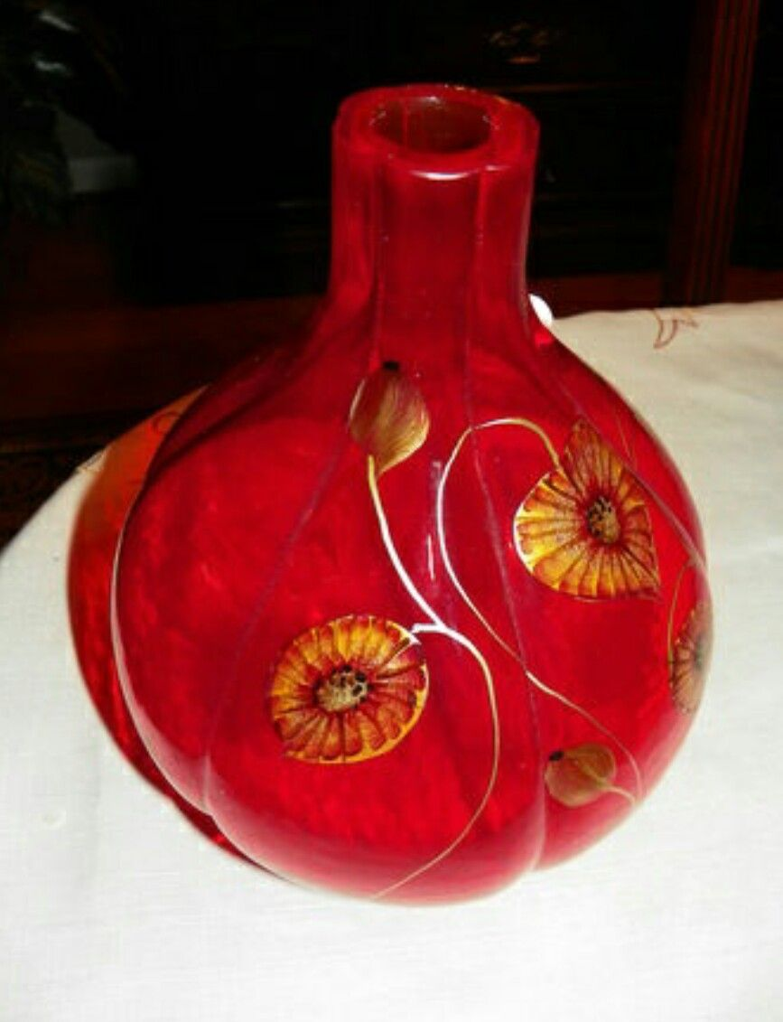 Fenton art glass vase hand painted by d fredrick fenton vases fenton art glass vase hand painted by d fredrick reviewsmspy