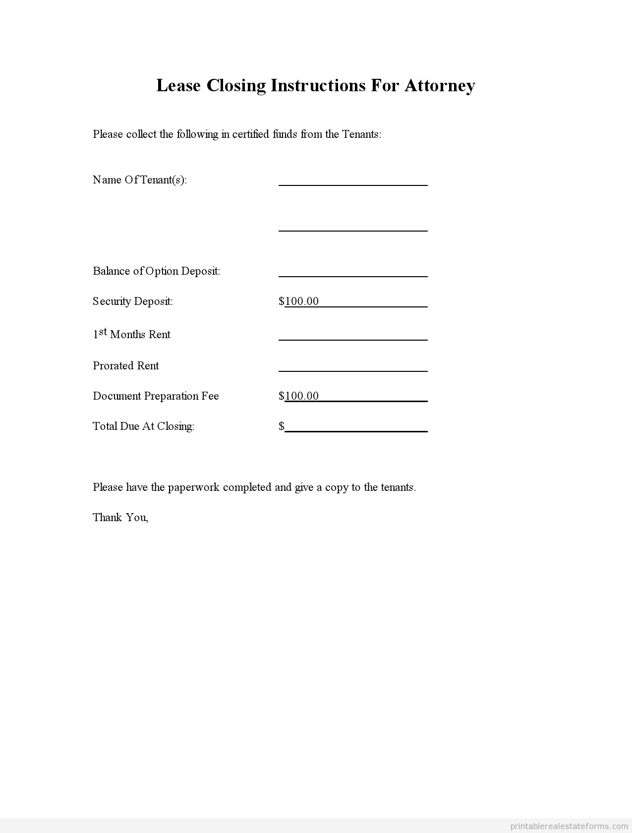 Sample Printable Lease Closing Instructions For Attorney Form
