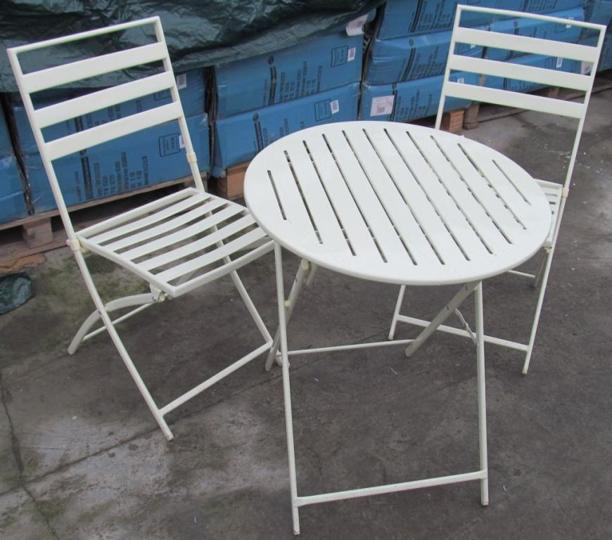 Meble Ogrodowe Bialy Metalowy Stolik 2 Krzesla 3872852120 Oficjalne Archiwum Allegro Folding Chair Chair Furniture