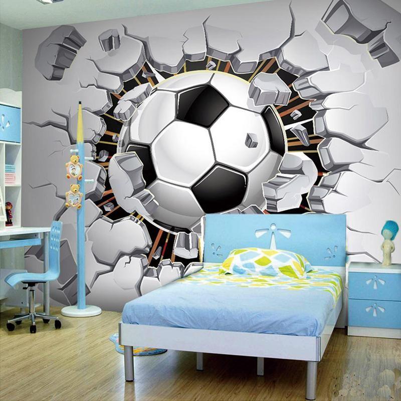 Custom 3d Soccer Sport Wallpaper Mural Soccer Room Soccer Room Decor Soccer Bedroom