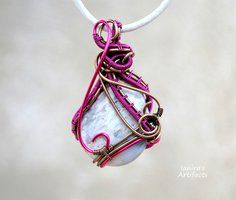 White Ocean Jasper wire wrapped pendant by IanirasArtifacts