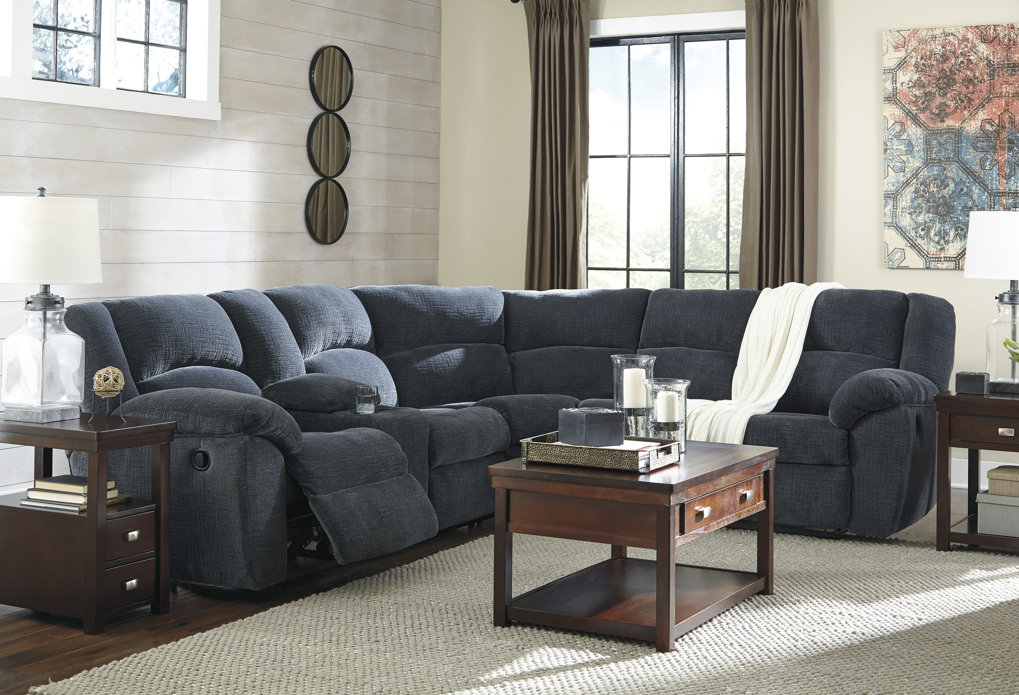 Our Seven Seas Sectional Has 2 Recliners And A Console With Storage And Cup Holders For Your Conven Reclining Sectional Fabric Sectional Sofas Living Room Sets