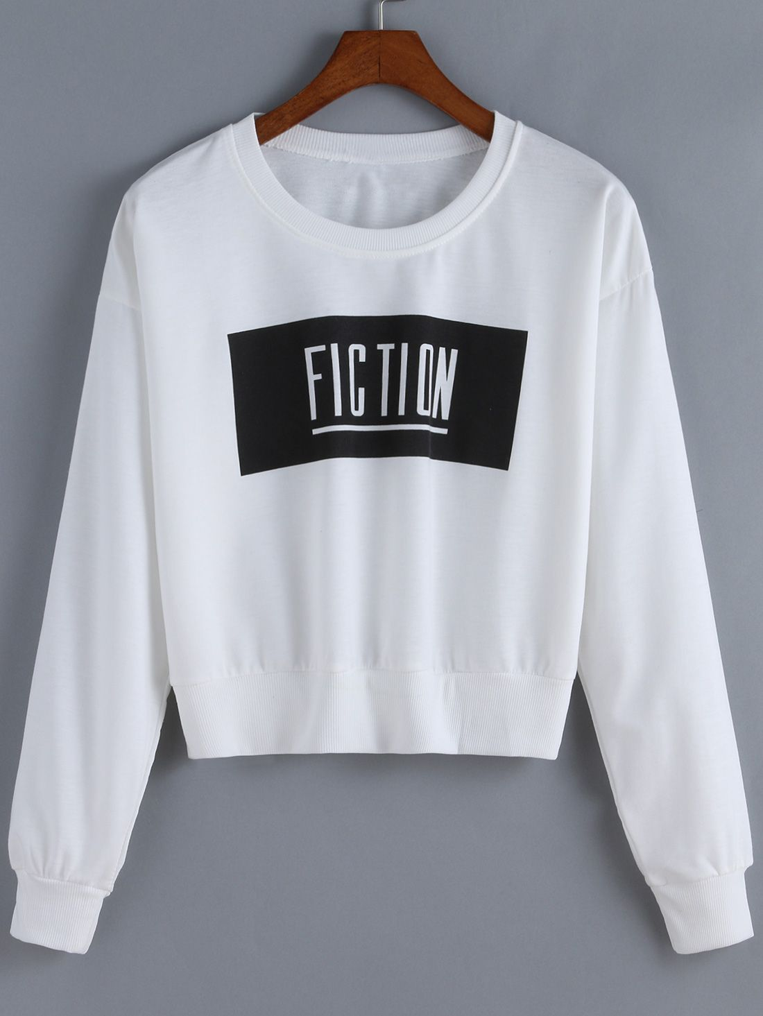ceab33d43fc8 White Round Neck Fiction Print Crop Sweatshirt