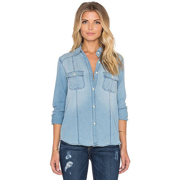 Joe's Jeans Leigh Button Up Tops (123.835 CLP) ❤ liked on Polyvore featuring tops, fashion tops, button front tops, blue top, button up tops, button down tops and joe's jeans