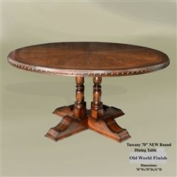 Tuscan Round Dining Table Round Dining Table Dining Room - 70 inch round pedestal dining table