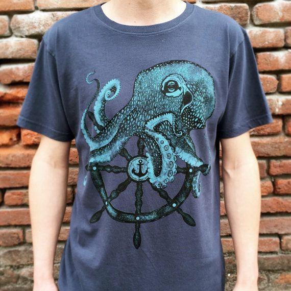 OCTOPUS shirt - mens t shirt - boyfriend tshirt - octopus t-shirt - Sailor tattoo print - kraken shirt - steampunk clothing - octopus art xh4mg